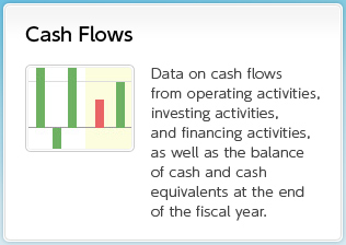 Cash Flows Data on cash flows from operating activities, investing activities, and financing activities, as well as the balance of cash and cash equivalents at the end of the fiscal year.