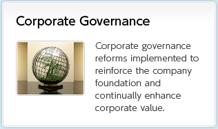 Corporate Governance Corporate governance reforms implemented to reinforce the company foundation and continually enhance corporate value.