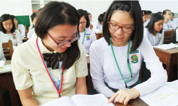High school students from Japan attending English class with local students at No. 1 Basic Education High School, Dagon (Yangon)