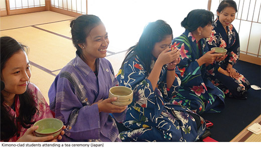 Kimono-clad students attending a tea ceremony (Japan)