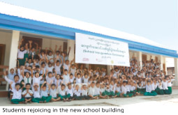 Students rejoicing in the new school building